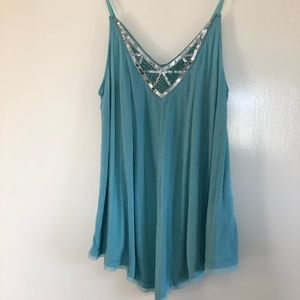 Teal Sequined Tank Top